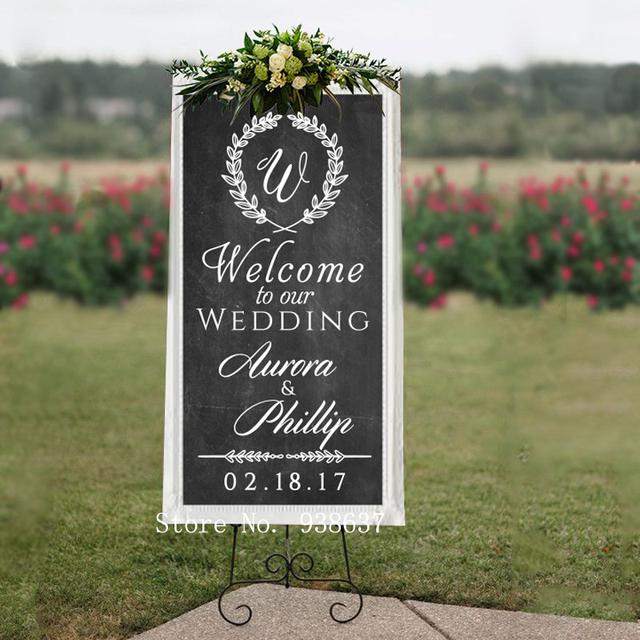 Personalized Wedding Welcome Sign Wall Decal Welcome to Our Wedding ...