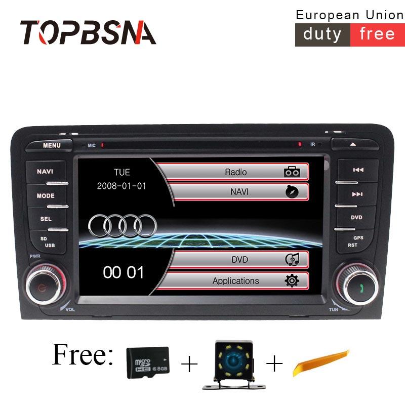 TOPBSNA 2 Din 7 pouce De Voiture Multimédia Pour AUDI A3 S3 2002-2011 Radio Navigation GPS Commande Au Volant headunit Autoaudio RDS