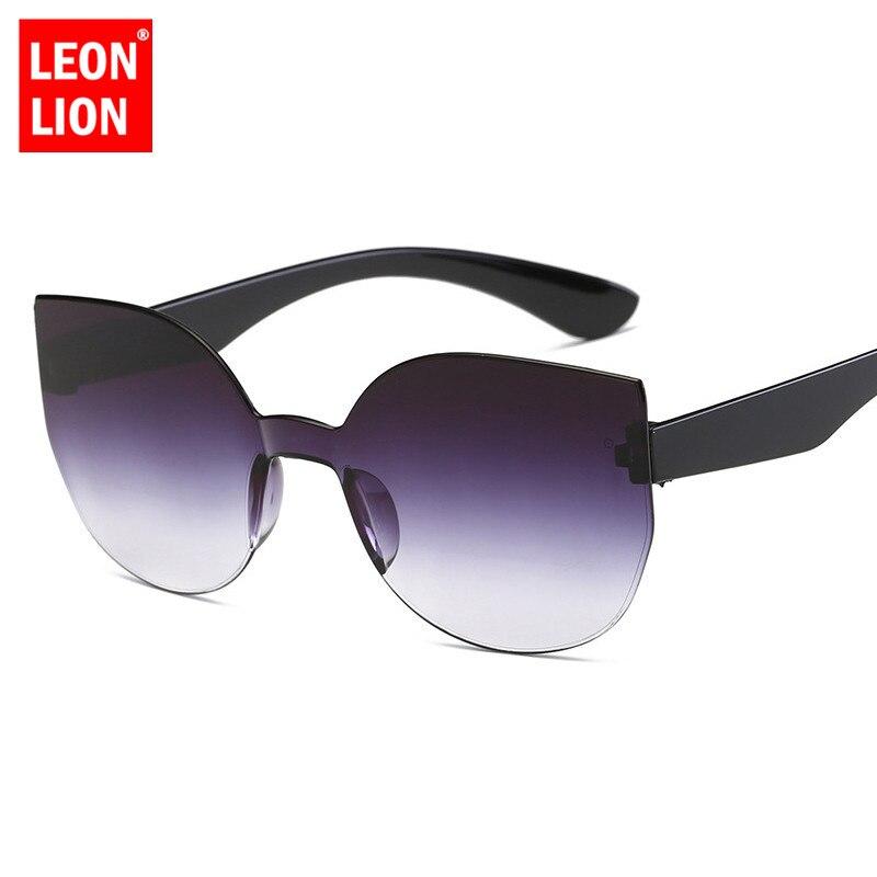 LeonLion 2019 Cat Eye Gradient Lens Sunglasses Women Retro One-piece Mirror Rimless Sun Glasses Vintage Travel Eyewear UV400