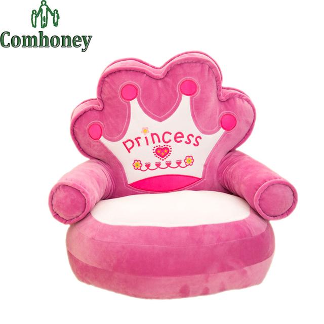 Cadeira e Assento de Pelúcia do bebê Da Princesa Rosa Crianças Beanbag Cadeira desenhos animados do Kawaii Bonito Crianças Dormindo Sofá Cama Ninho Bebê Salão cadeira