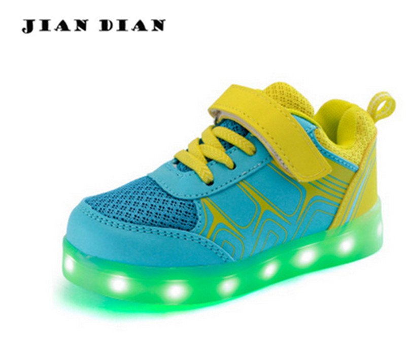 JIANDIAN Led Children Shoes USB Charging Basket Shoes With Light Up Kids Casual Boys&Girls Luminous Sneakers Glowing Shoe Enfant