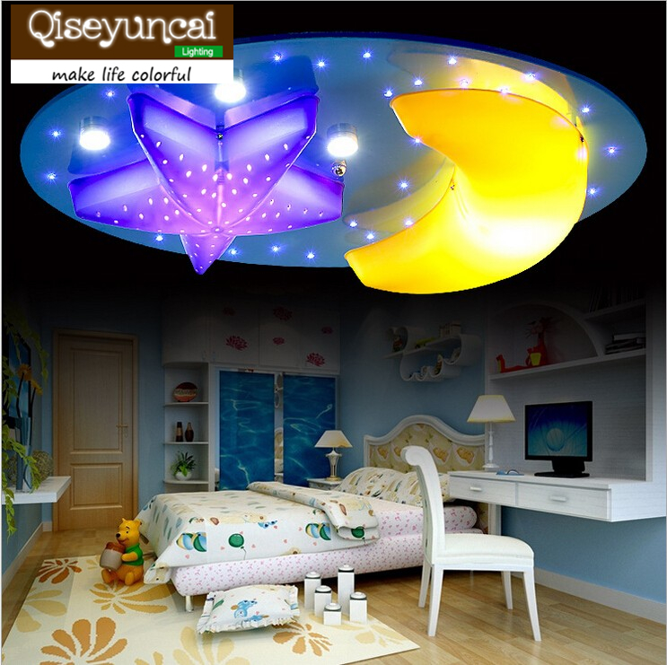 Qiseyuncai Cartoon Stars and moon Children Ceiling lamps Kids Bedroom Remote controlled dimming Chandelier