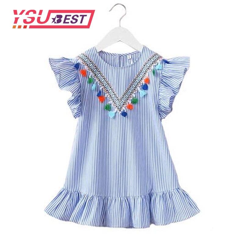 1-7ans Bébé Filles Robe Fille Vêtements Gland Robe Pour Fille Rayé Robe Fille Ruches Enfants Vêtements Belle Bleu Robes