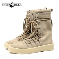 2018 Mens Lace Up Army Military Desert Boots Fashion Luxury Genuine Leather Shoe Male High Top Work Martin Boots Casual Footwear