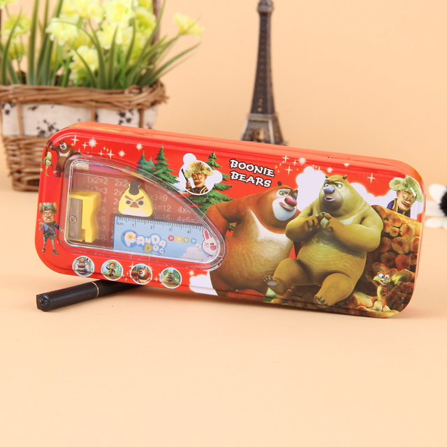 38 thickening chalybeate double layer stationery box pencil box cartoon pencil case