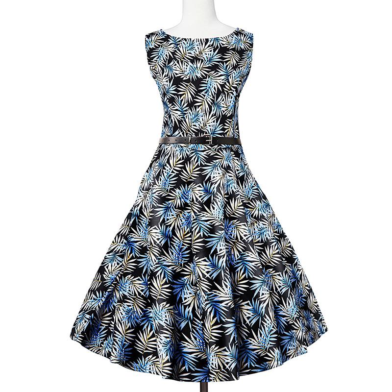 Kostlish Elegant Print Women Summer Dress Sleeveless Cotton Hepburn 50s 60s Vintage Dress With Belt Casual A-Line Ladies Dresses (22)