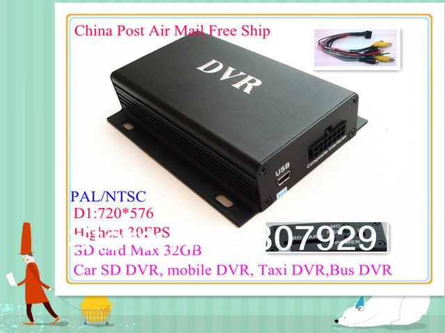 Free ship 2CH SD Mobile DVR,CCTV D1 DVR, vehicle dvr,SD card maX 32GB,video record D1 Real-time ,PAL / NTSC for choice