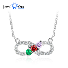 Personalized Infinity Love Necklaces & Pendants Customized 3 Birthstone Women Jewelry Gift for Wife(JewelOra NE103205)