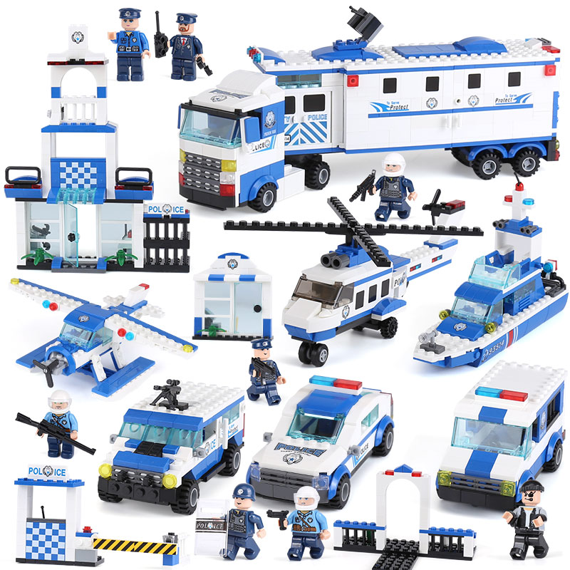 XIPOO 6 in 1 Police Series 1040Pcs The Police Station Set Building Blocks Bricks Educational Funny Toys As New Years Kids Gifts xipoo 6 in 1 blue military ship diy model building blocks bricks sets educational gift toys for children boy friends
