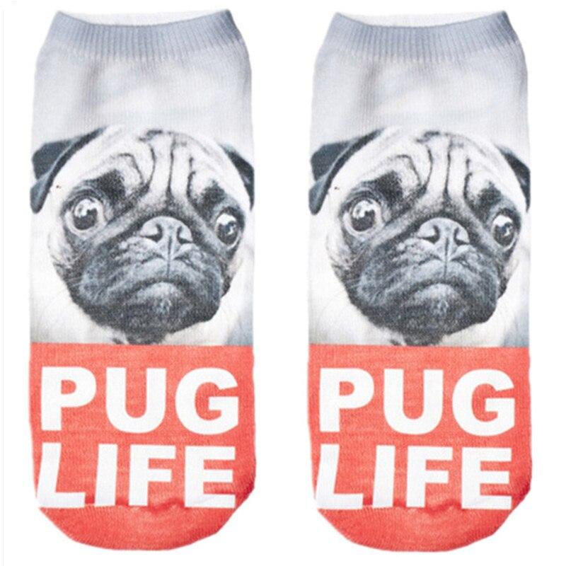 RUNNING CHICK Pug Life Print Cute Socks Women Wholesale