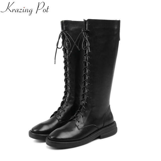 Krazing Nồi 2019 da bò dây kéo med gót giữ giày mùa đông ấm áp vòng ngón chân đầu gối cao khởi động phụ nữ cưỡi đùi cao khởi động L11