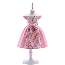 Lace Bow Children Party Dress Floral Girls Princess Prom Gown 2018 Summer Kids Costume Cute Dresses For Girl