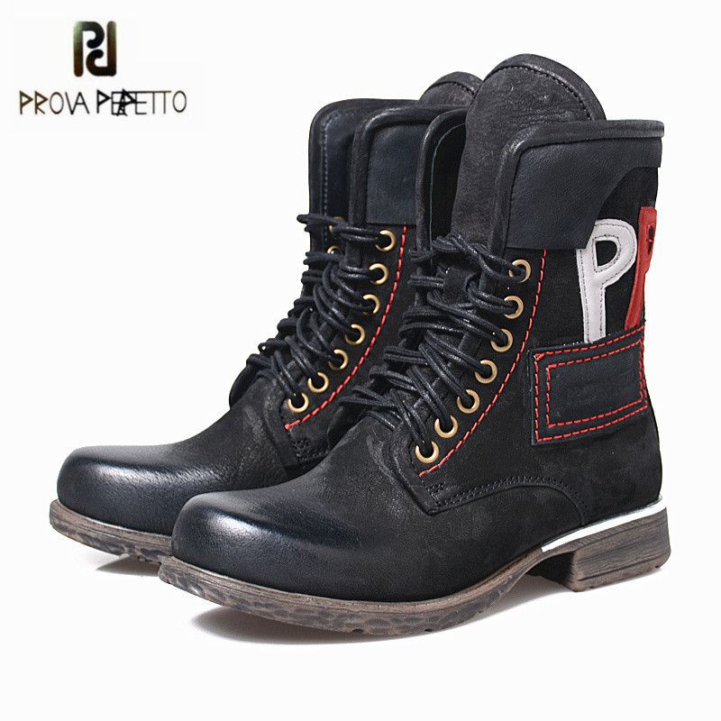Prova Perfetto Retro Women Martin Boots Black Lace Up Genuine Leather Handmade Ankle Boots for Women Flat Rubber Shoes Woman prova perfetto black handmade women genuine leather mid calf boots buckle straps martin boots women platform rubber shoes woman