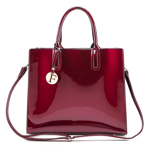 f52d6bf1a8 2017 Fashion Women s Tote Bags Handbags Women Famous Brands Patent Leather  Shoulder Bag High Quality Female Handbag Sac a Main