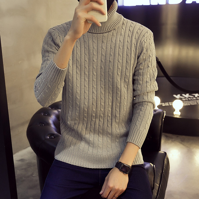 New Winter 2017 Men's Fashion Sweater Solid Color Cultivating Serratula Thick 5XL Male Hedging High Collar Sweater