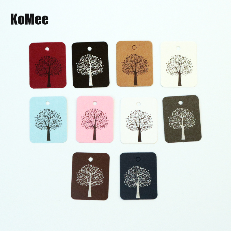 Hot Sale 100pcs/lot 2.6x3.3CM White Paper Clothing Price Tags Jewelry Gift Hang Tags Tree Print Square Label Jewelry Cards