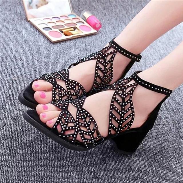 2017 Cut Out Leaf Women Gladiator Sandals Rhinestone Med Heel Summer Shoes Sexy High Heels Elegant Pumps WSS114
