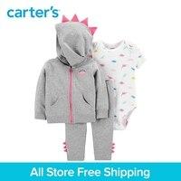 3pcs cute dinosaur bodysuit spike pants spike jacket set Carter's baby girl spring autumn clothing 121I879