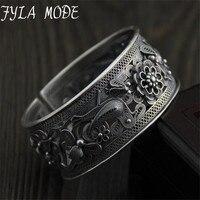 Атанасиос режим античные тайские серебряные S990 Широкий Браслет манжета мода браслет ювелирные изделия подарок Для женщин девочки полые цв