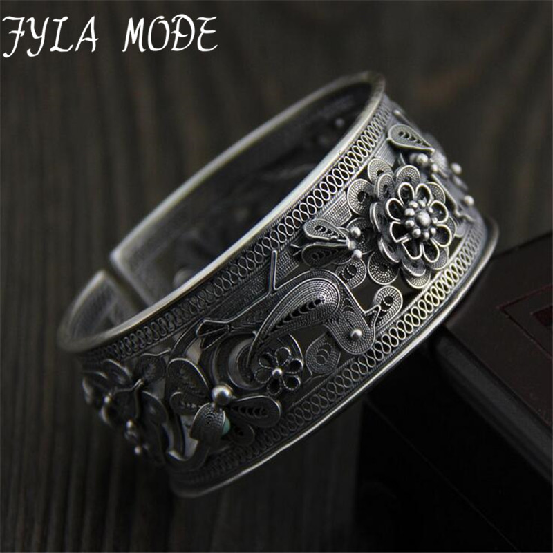 Fyla Mode Antique Thai Silver S990 Wide Cuff Bracelet Fashion Bangle Jewelry Gift Women Girl Hollow Flower Bangles 26.70mm 40G купить недорого в Москве
