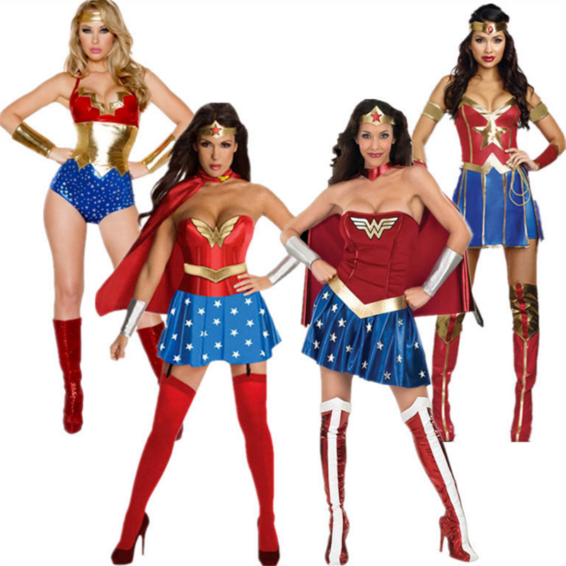 Sexy Wonder Woman Costume Superhero Supergirl Ladies -9254