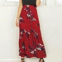 a773abe96d 2019 Sexy Mujer Faldas Vintage Floral impresión Falda larga de verano  elegante playa Maxi falda de cintura alta falda de las señ.