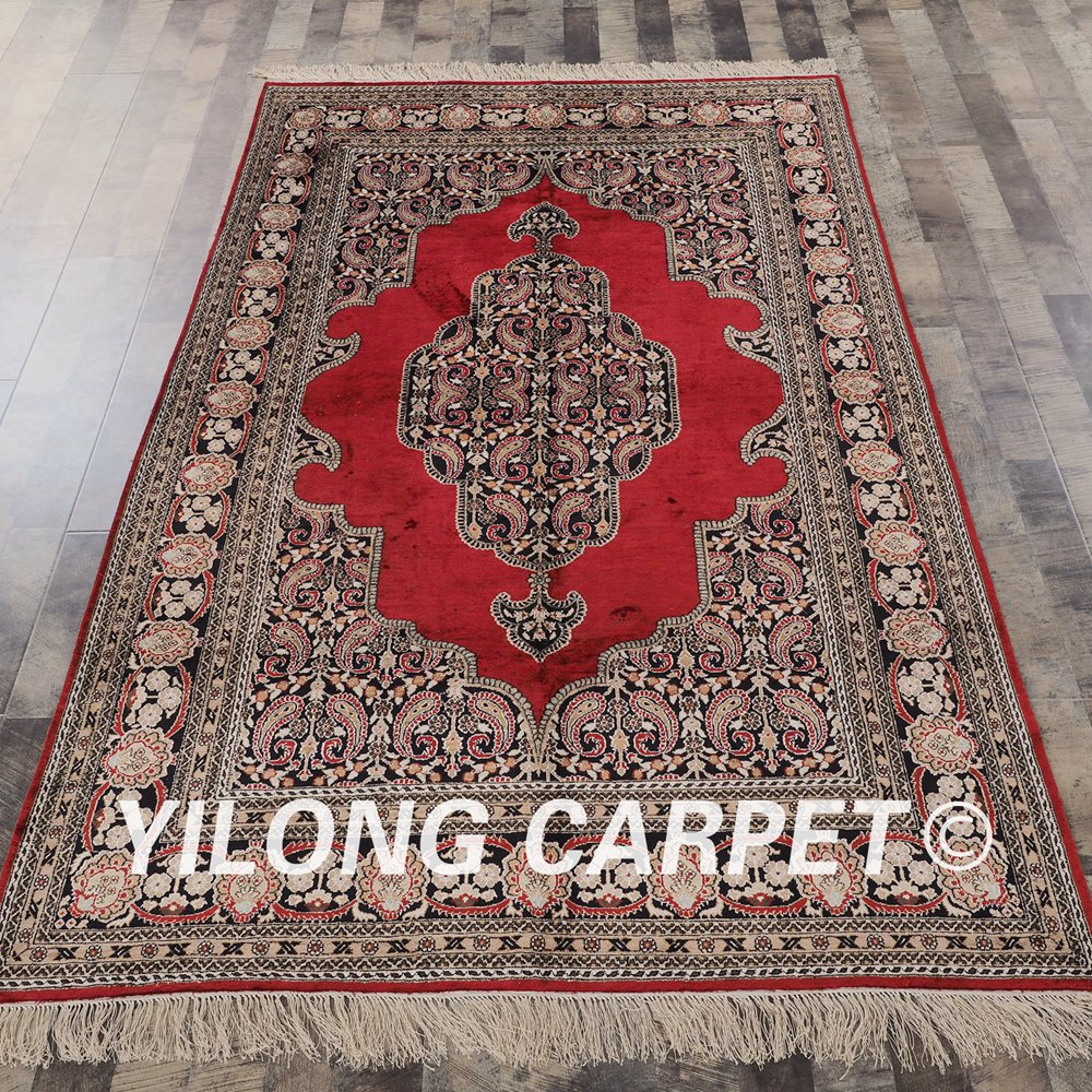 YILONG 5\'x8\' hand knotted persian style silk rug living room red ...