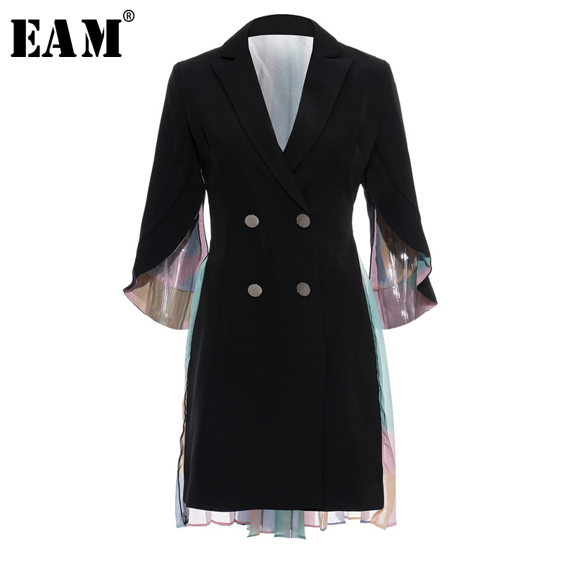 [EAM] Women Back Colorful Pleated Trench New Lapel Long Sleeve Double Breasted Loose Fit Windbreaker Fashion Autumn 2020 JY849