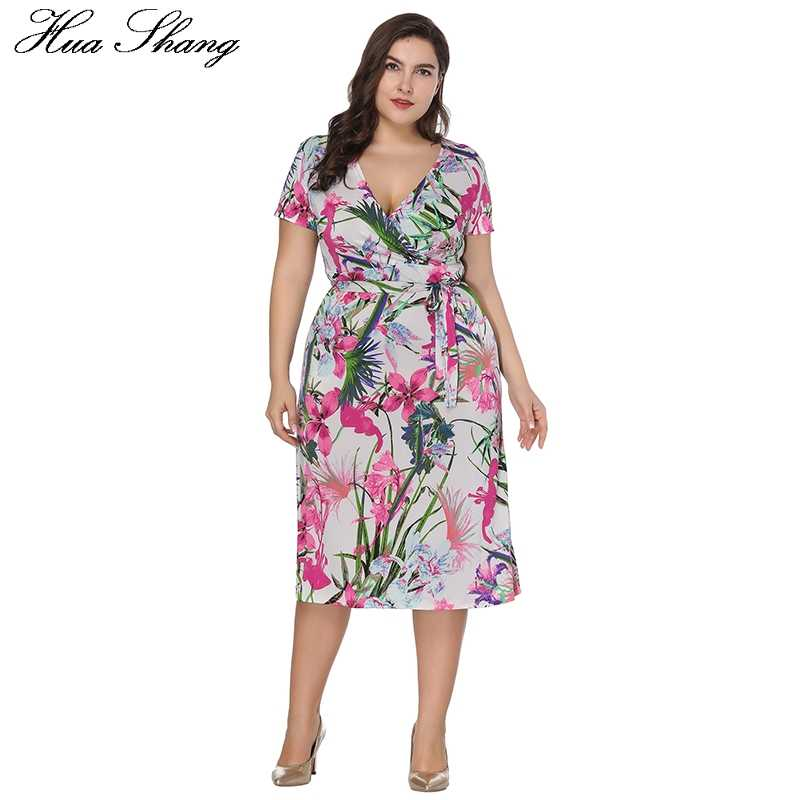 d6b2d84b1f4 2018 Fashion Women Summer Short Sleeve Dress 6XL Plus Size Women Clothing V  Neck Floral Print