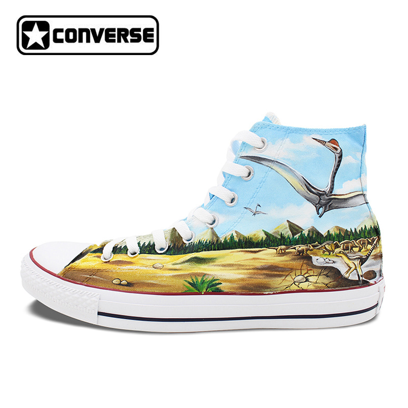 Mens Womens Converse All Star Skateboarding Shoes Hand Painted Dinosaurs High Top Canvas Sneakers Waterproof Painting Gifts mens converse shoes custom hand painted hunger game high top black canvas sneakers unique presents