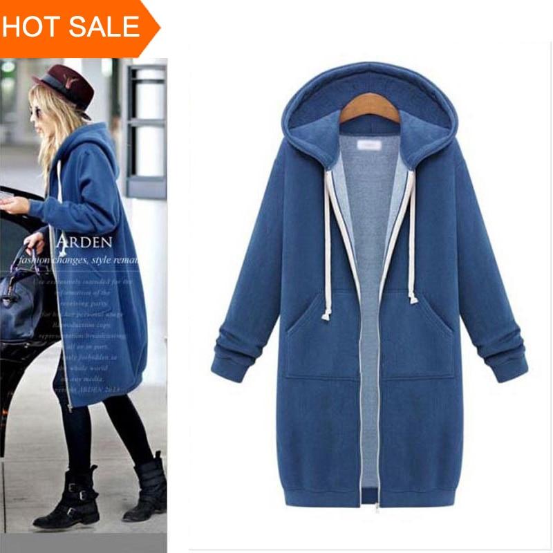 Women Long Hoodie Hooded Autumn Winter Loose Woman Hoodies Sweatershirt Loose Size Outerwear Suit Casual Long Coat Jacket