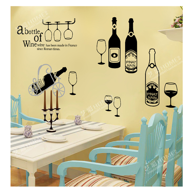 Europe Style 3D Wall Stickers Vinyl Wine Bottle Art Decal For ...