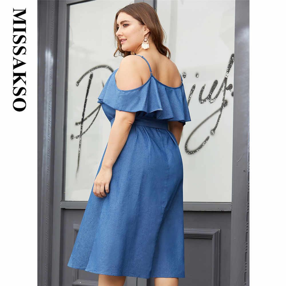 Missakso джинсовые летние платья больших размеров без рукавов с оборками и поясом А-силуэт свободные Синие сексуальные спагетти ремень Slash шеи женское платье