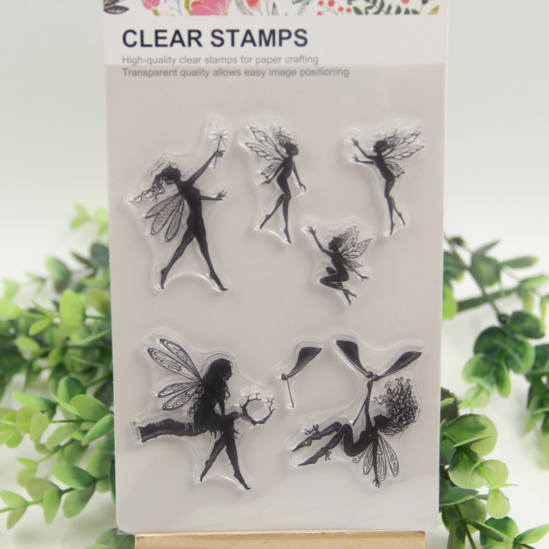 1 sheet diy flower fairy design transparent clear rubber for Rubber stamps arts and crafts