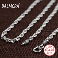 BALMORA 100% Real 925 Sterling Thai Silver 18-32 inches Retro Necklaces for Men Pendant Accessories Link Chain Bijoux SZ0157
