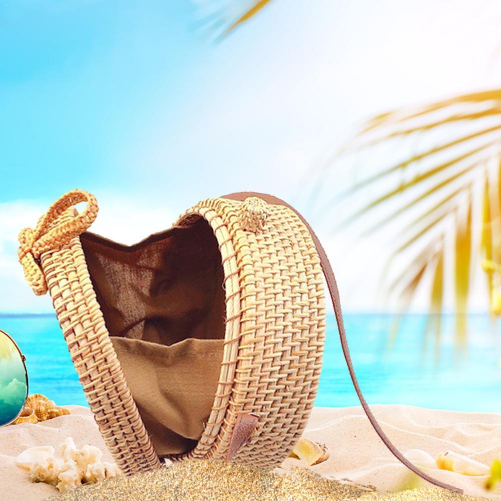 Women Bali Island Hand Woven Bag Round Bag Buckle Rattan Straw Bags Satchel Wind Bohemia Beach Circle Bag Drop Shipping