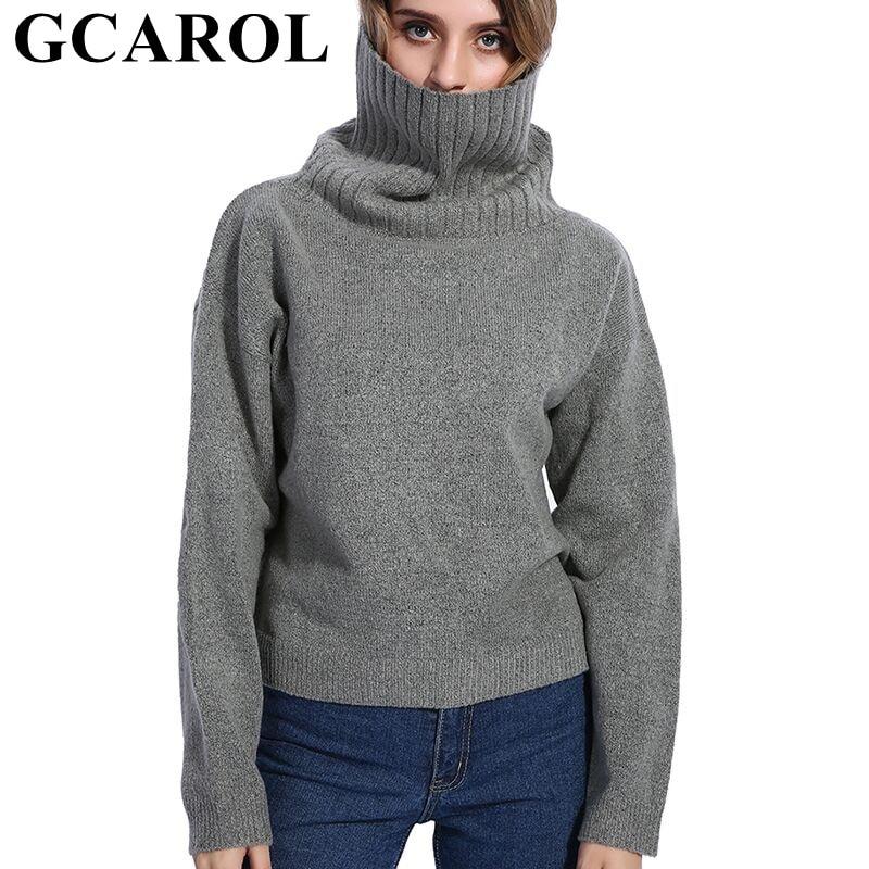 GCAROL automne hiver femmes pull à col roulé 20% laine de haute qualité surdimensionné tricot pull doux à la main pull en 3 couleurs