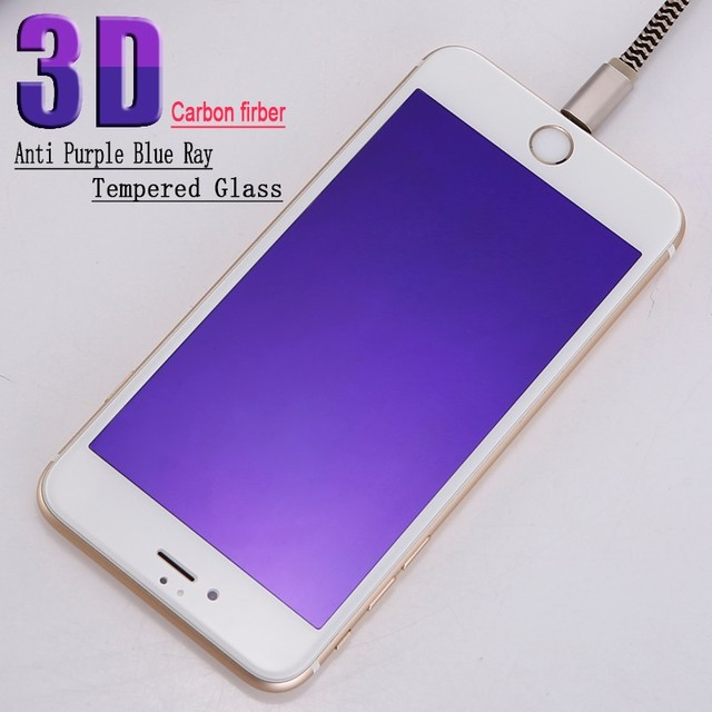 100pcs 0.3mm Carbon Fiber Anti purple blue ray 3D full covered Tempered Glass Screen Protector For iPhone 6/6s/6 plus /7/7 plus