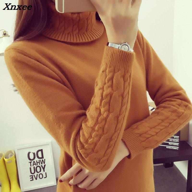 Hot 2018 Spring Autumn Winter Pullovers Fashion turtleneck Sweater Women twisted thickening slim pullover sweater Xnxee in Pullovers from Women 39 s Clothing