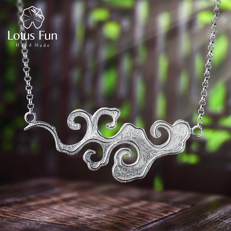 Lotus Fun Real 925 Sterling Silver Handmade Designer Original Fine Jewelry Sunset Cloud Pendant Necklace for Women