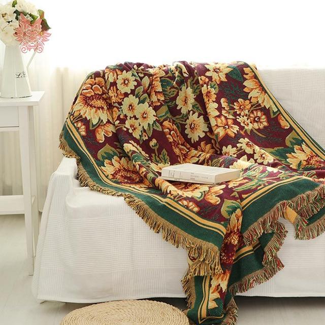100 Cotton Sofa Towel Gerbera Duplex Print Chair Blanket Slip Resistant Vintage