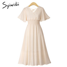 Women Chiffon Long Summer Dress 2019 A Line Club Party Dresses Flare Sleeve V Neck Mid Calf Dress Pink Beige White Black Dresses(China)