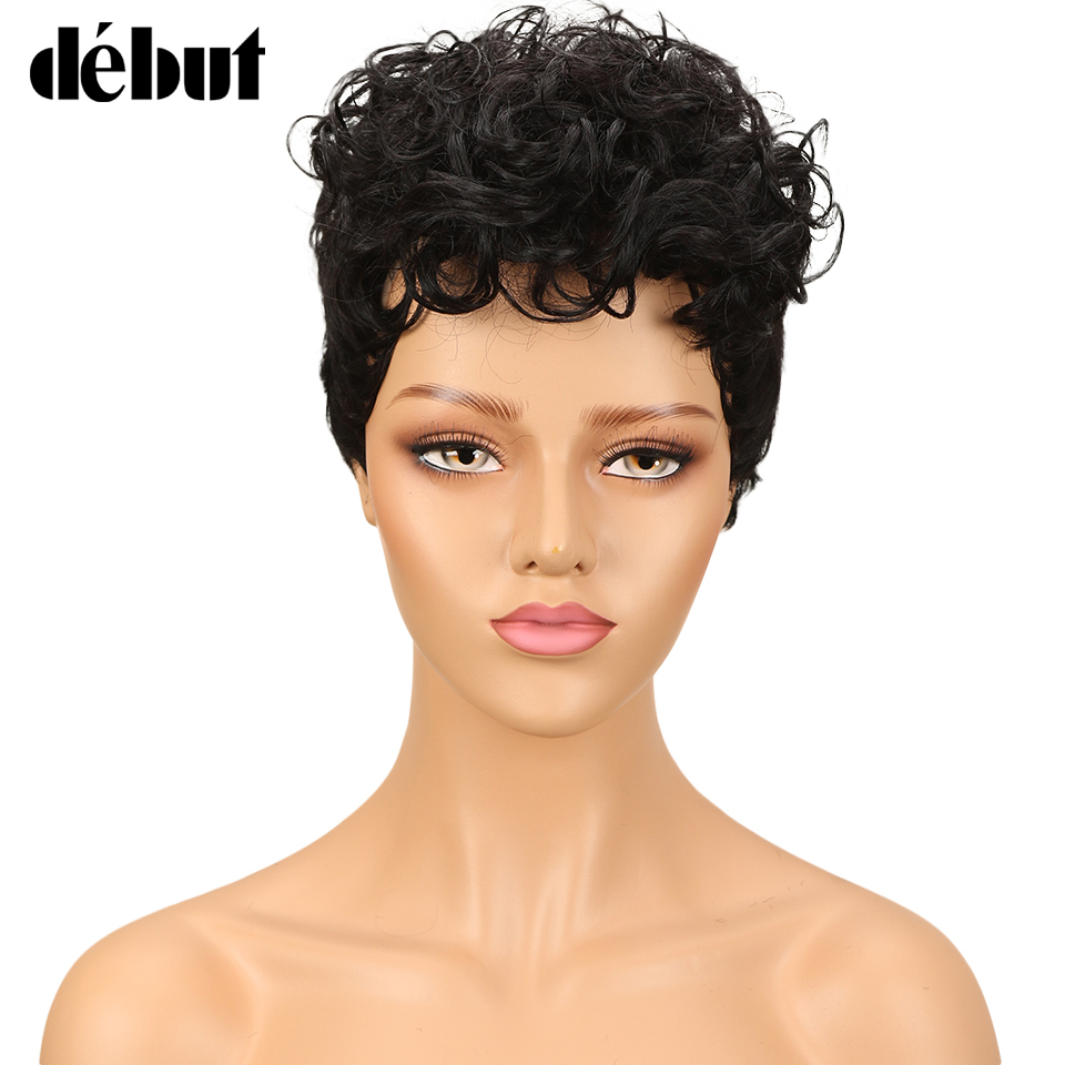 Debut Short Human Hair Wigs Brazilian Curly Human Hair Wig Cheap Ombre Wigs For Black Women Free Shipping