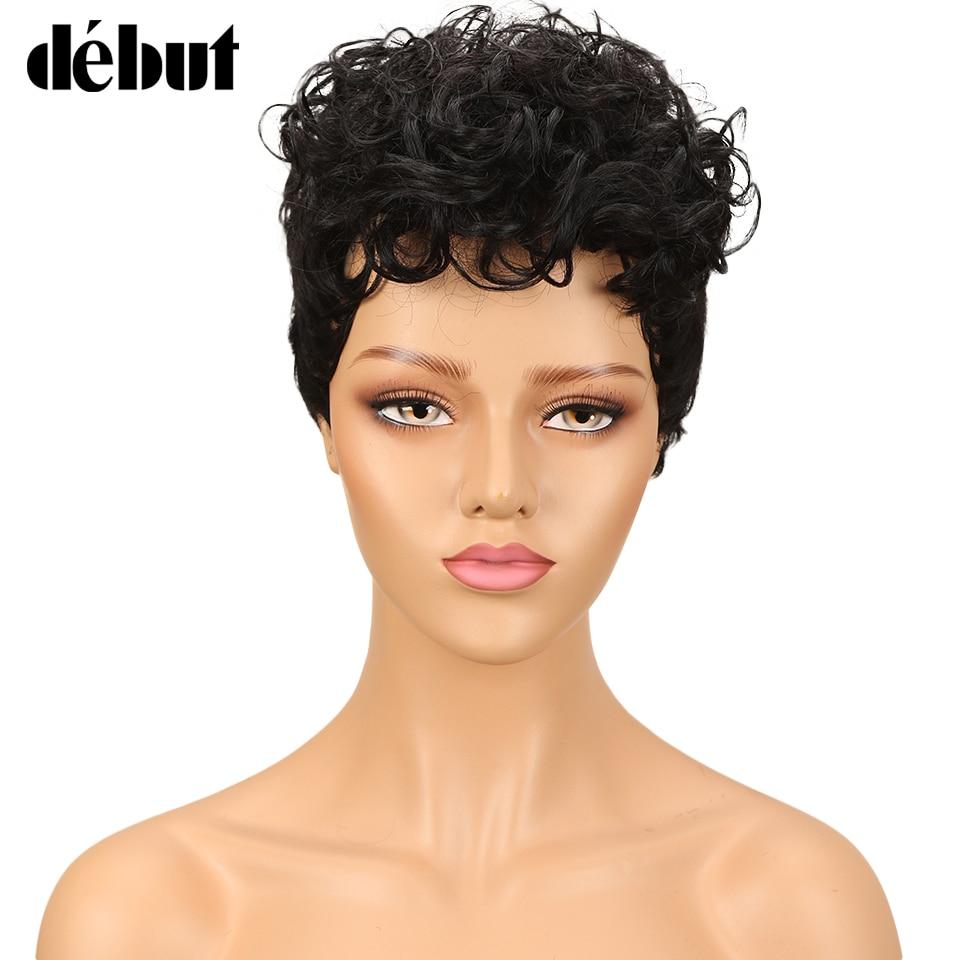 Debut Short Human Hair Wigs Brazilian Curly Human Hair Wig Cheap Ombre Wigs For Black Women Free Shipping