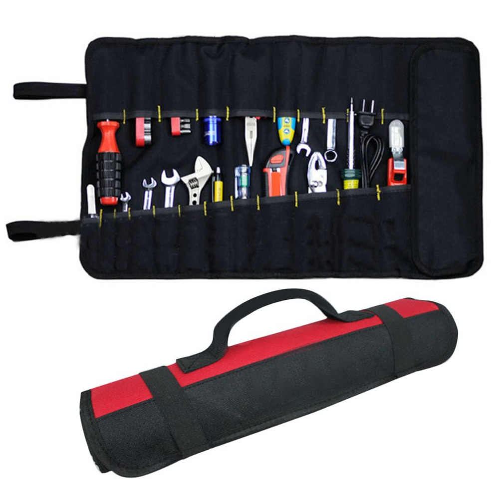 22 Pockets Hardware Tool Roll Pliers Screwdriver Spanner Carry Case Pouch Bag Rolled Up Hardware Holder Oxford Cloth Red/Black