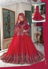 High Neck Long Sleeves Perlen Two Tone Burgund und Red Muslimische Abendkleid Türkisch Formale Kleider Islamischen Party Kleid