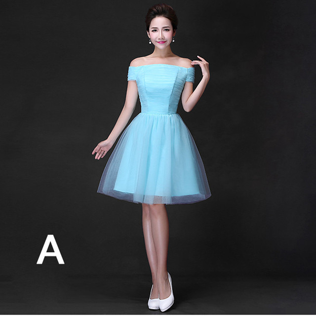 Sky blue short design bridesmaid dress formal 5 different styles ...