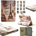 Case For Apple iPad Air 2 Classic Retro Eiffel Tower Flip /Flower Book Stand Cover Cases for Pad 6 Tablet Case With Card Holders