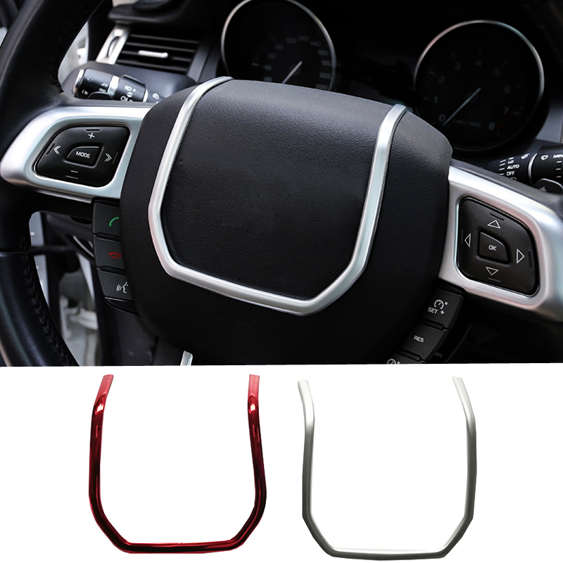 Chrome ABS sticker steering wheel decorative strip sticker frame trim sticker accessories for Land Rover for Range Rover Evoque for land rover range rover evoque 2012 2016 car interior front dashboard edge cover frame trim abs chrome sticker accessories