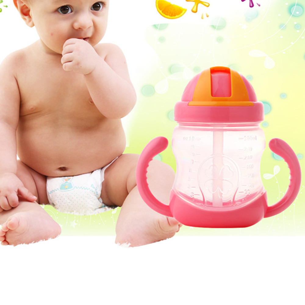 280ml Cute Baby Drinking Straw Kids Children Learning Silicone Milk Nibbler Safe Feeding Bottle Handle Sippy Training